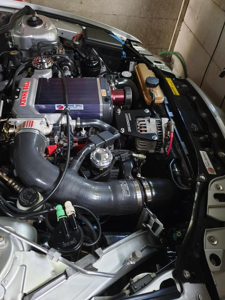 Kenniebell supercharger, bigger throttle body, blaster coils taking the car over 400hp
