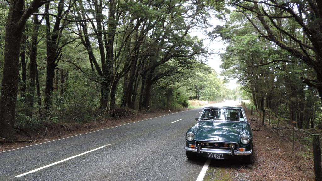 My 71 MGB GT at Haast Pass New Zealand 6-12-20